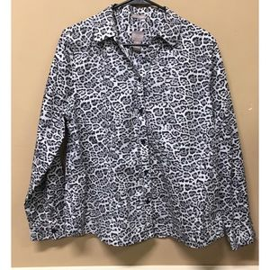 Chicos Blouse Top Animal Print Button Up No Iron